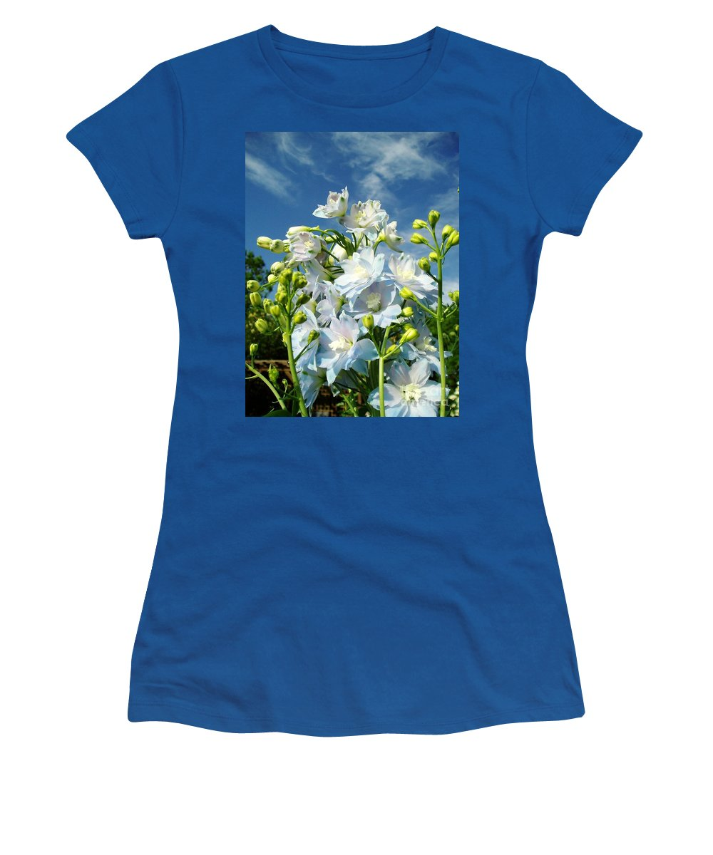 Women's T-Shirt featuring the photograph Delphinium Sky Original by Renee Croushore