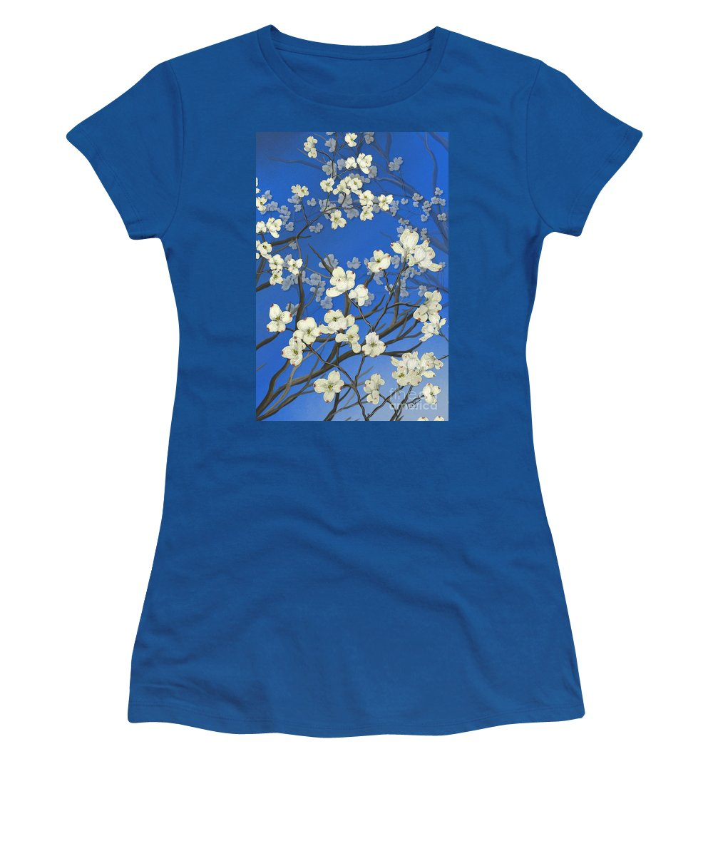 Floral Painting Women's T-Shirt featuring the painting Dogwood Trees by Nancy Long