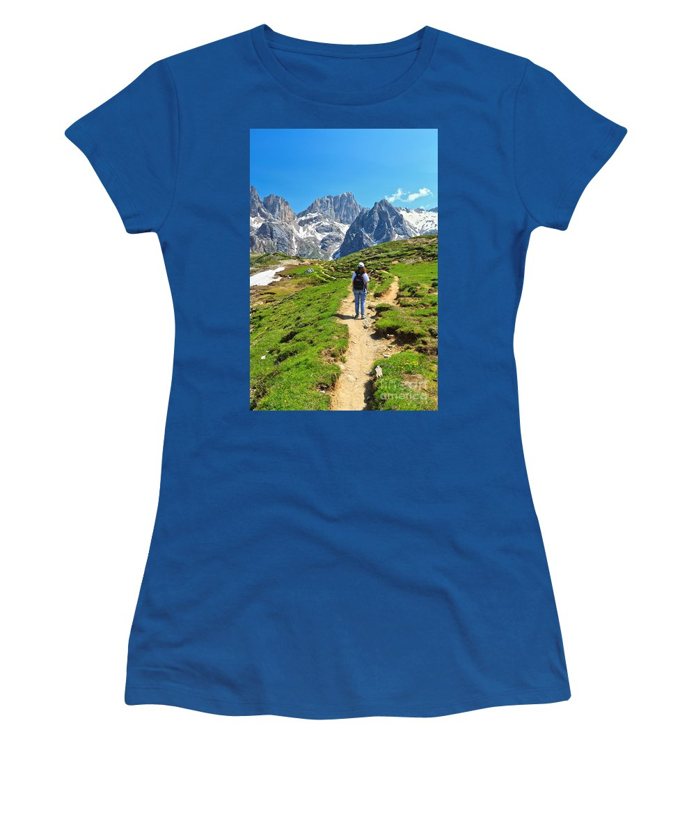 Hiker Women's T-Shirt featuring the photograph Dolomiti - Hiking In Contrin Valley by Antonio Scarpi