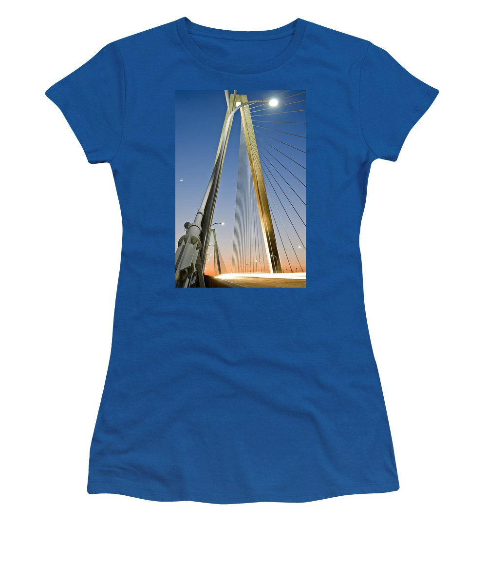 A Multiple Second Exposure Of The Double Diamonds On The Ravenel Bridge In Charleston Women's T-Shirt featuring the photograph Double Diamonds At Sunset by Andrew Crispi