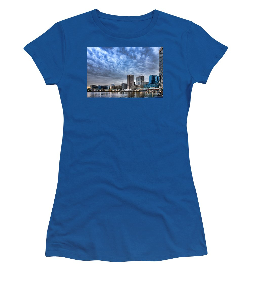 Downtown Women's T-Shirt featuring the photograph Downtown Baltimore by Olivier Le Queinec