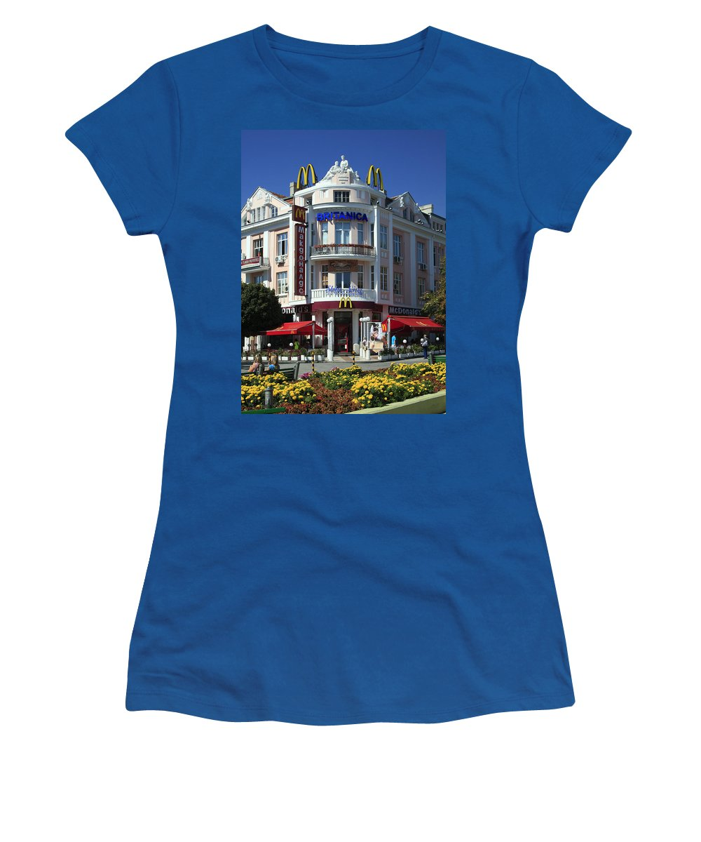 Mcdonalds Fast Food Chain Restaurant Women's T-Shirt featuring the photograph European Mcdonalds by Sally Weigand