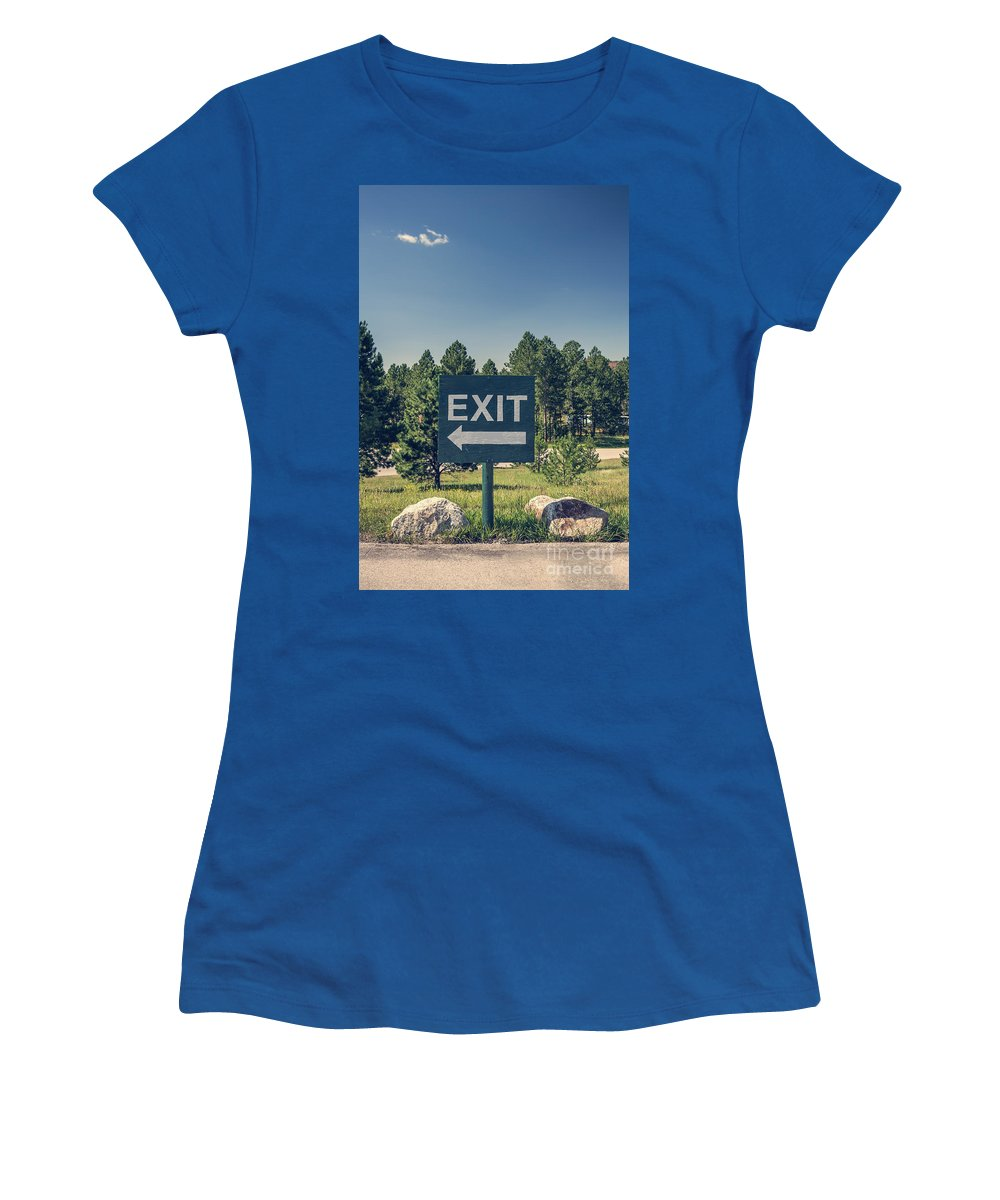 Arrow Women's T-Shirt featuring the photograph Exit Sign by Bryan Mullennix