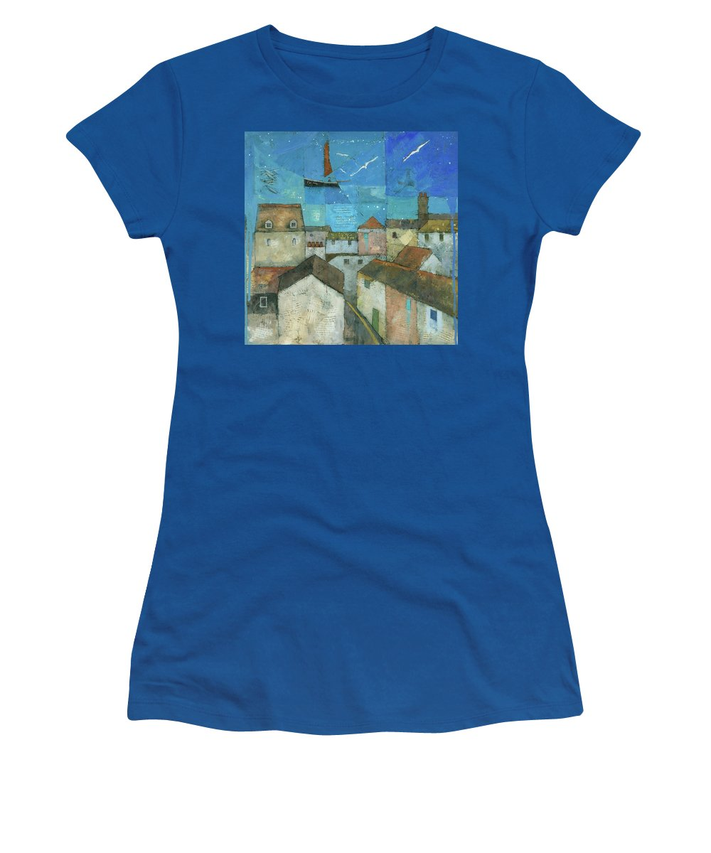 Abstract Women's T-Shirt (Athletic Fit) featuring the painting Falmouth by Steve Mitchell