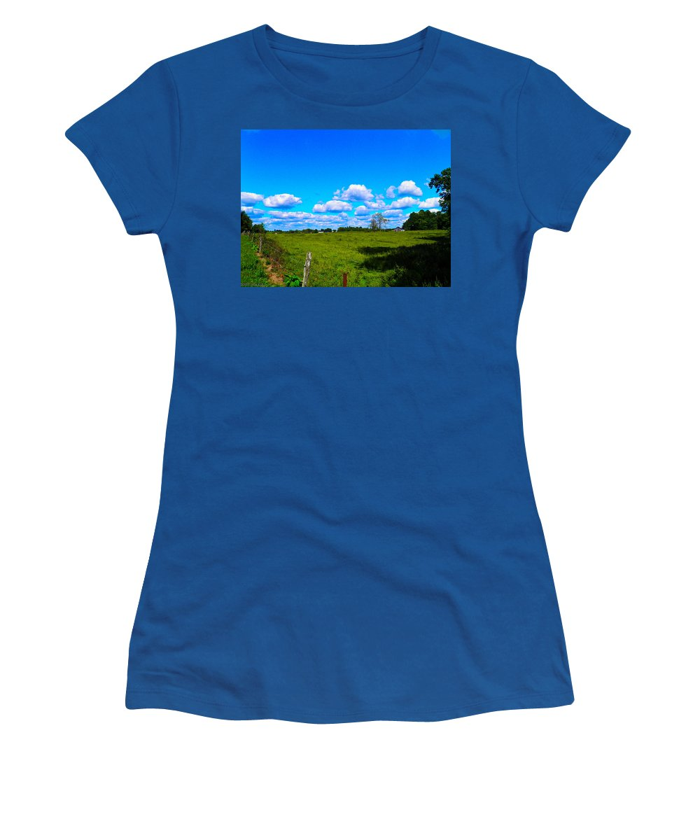Clouds Women's T-Shirt featuring the photograph Fence Row And Clouds by Nick Kirby