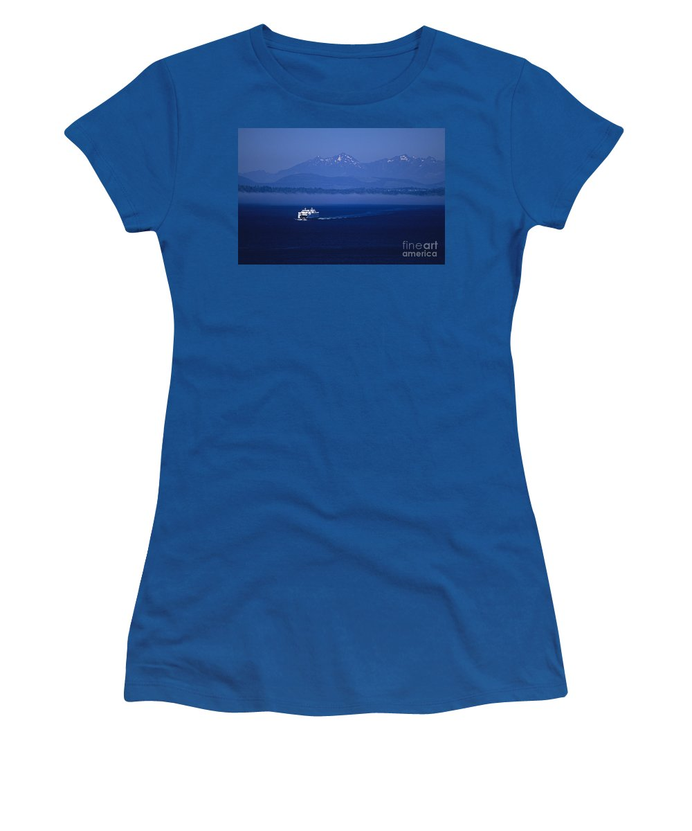 Travel Women's T-Shirt featuring the photograph Ferry Boat In Puget Sound With Olympic Mountains by Jim Corwin