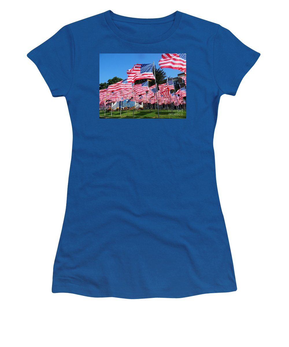 American Flags Women's T-Shirt featuring the photograph Flags Of Glory by Ed Weidman