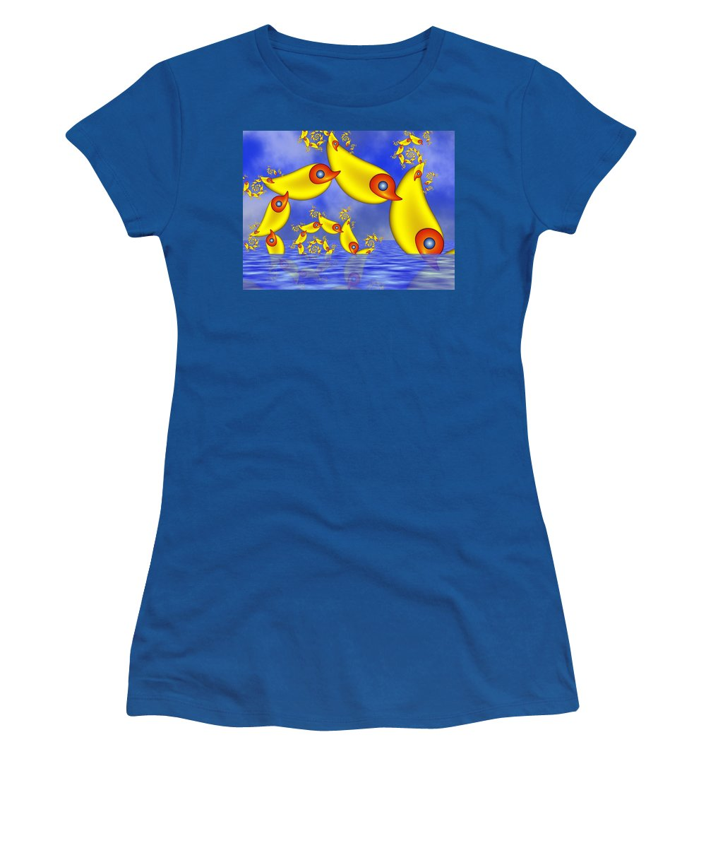 Childsroom Women's T-Shirt featuring the digital art Jumping Fantasy Animals by Gabiw Art