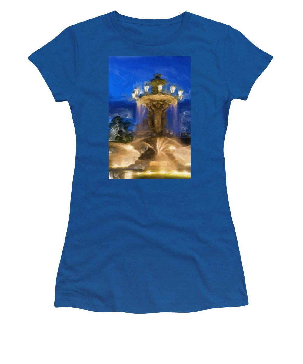 Fountain Women's T-Shirt featuring the painting Fountain At Dusk by Inspirowl Design