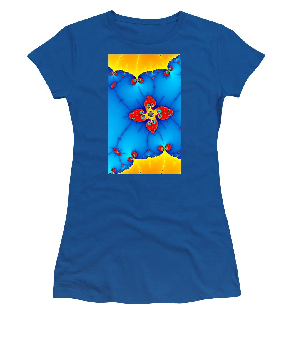Orange Women's T-Shirt featuring the digital art Fresh Orange Red And Blue Abstract Fractal Art by Matthias Hauser