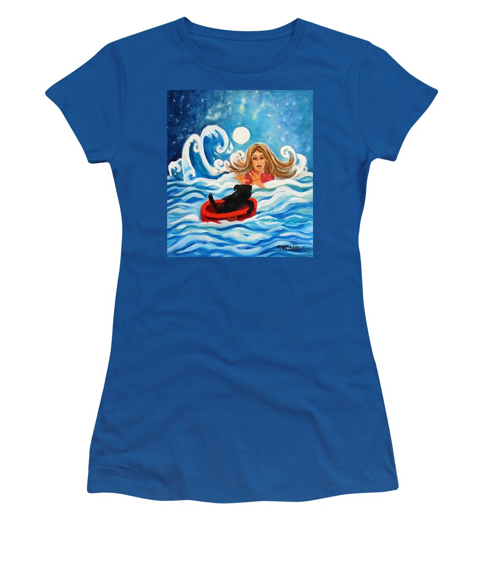 Front Women's T-Shirt featuring the painting Front Cover by Carol Allen Anfinsen