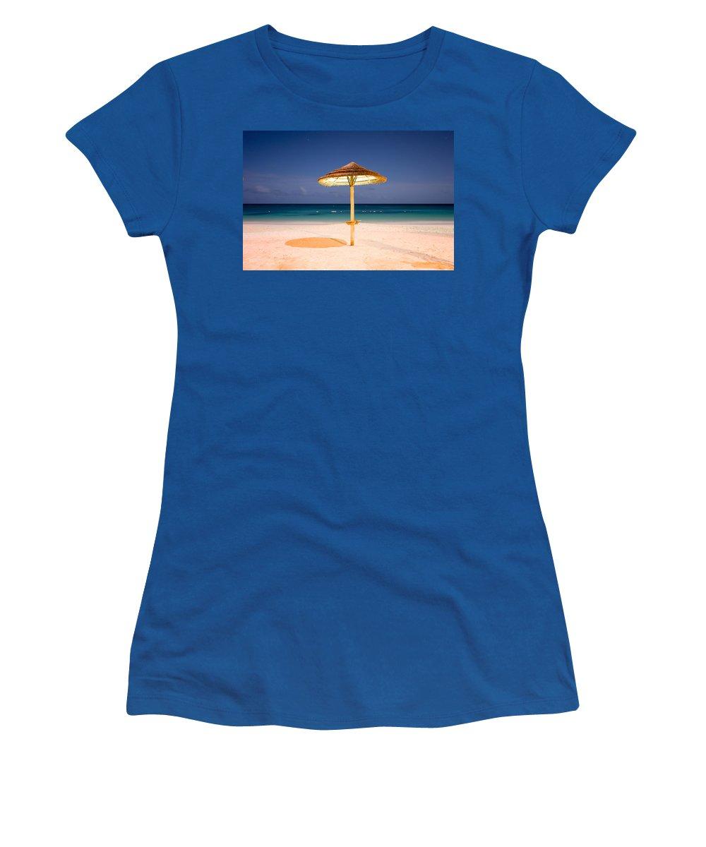 Full Moon Women's T-Shirt featuring the photograph Full Moon Beach Hut by Ferry Zievinger