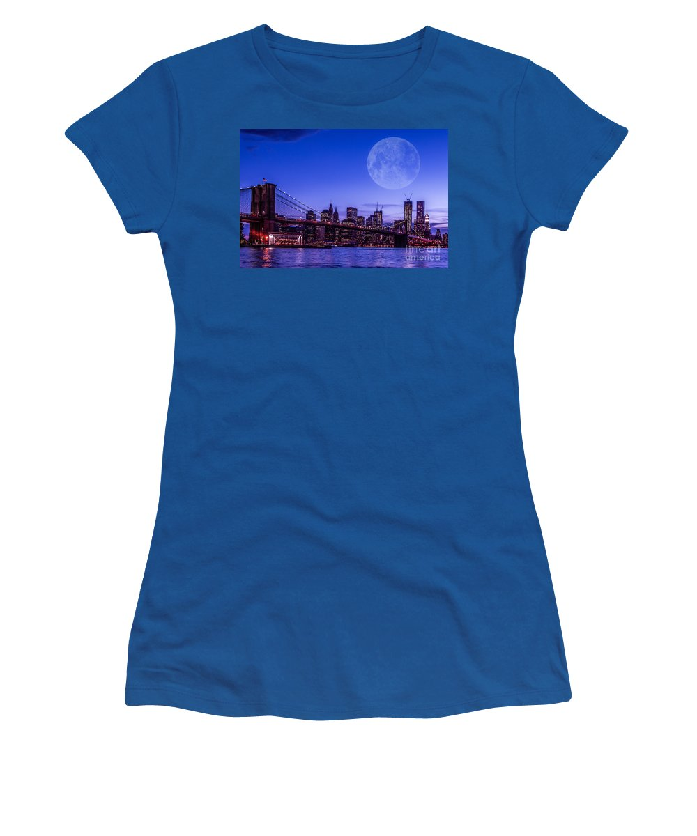 Nyc Women's T-Shirt featuring the photograph Full Moon Over Manhattan II by Hannes Cmarits