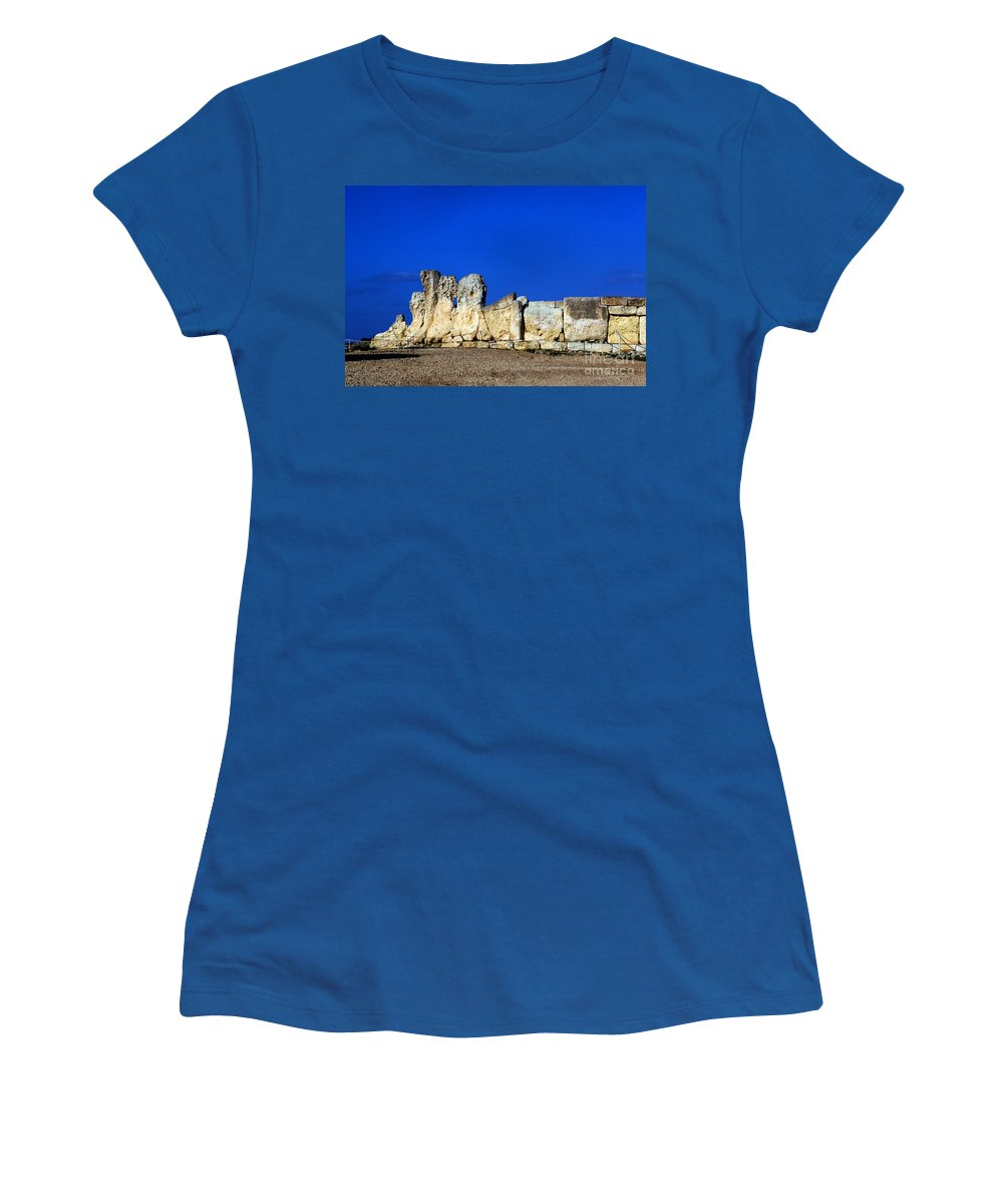 Stone Temple Women's T-Shirt featuring the photograph Hagar Qim Stone Temple, Malta by Tim Holt