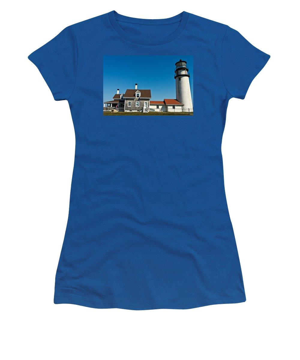 Highland Light (cape Cod Light) Women's T-Shirt featuring the photograph Highland Lighthouse Or Cape Cod Lighthouse by Terri Morris