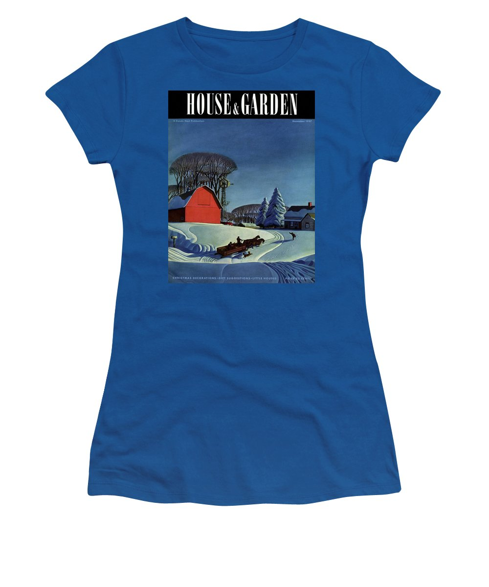 House And Garden Women's T-Shirt featuring the photograph House And Garden Christmas Decoration Cover by Dale Nichols