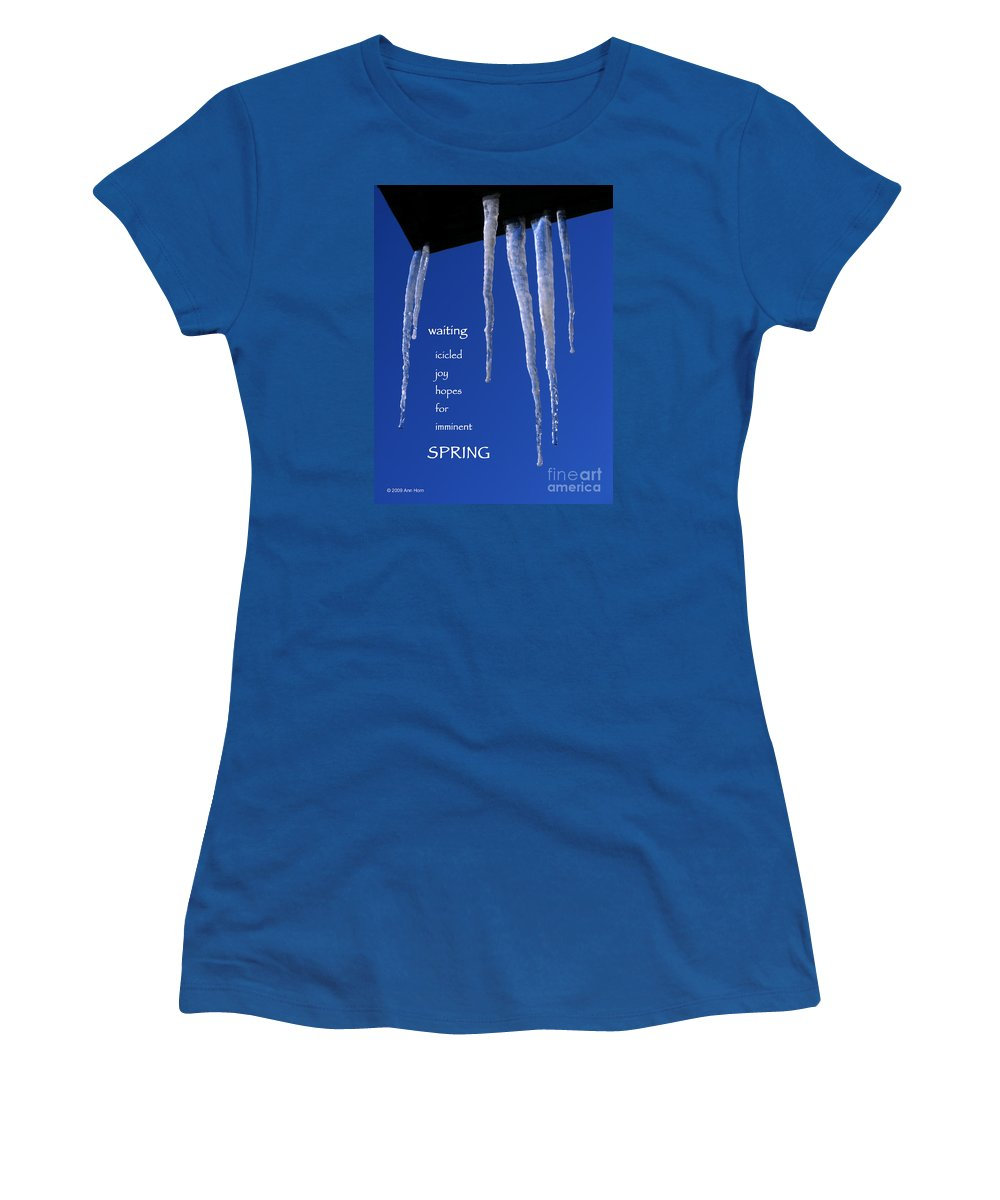 Icicle Women's T-Shirt (Athletic Fit) featuring the photograph Icicled Joy by Ann Horn