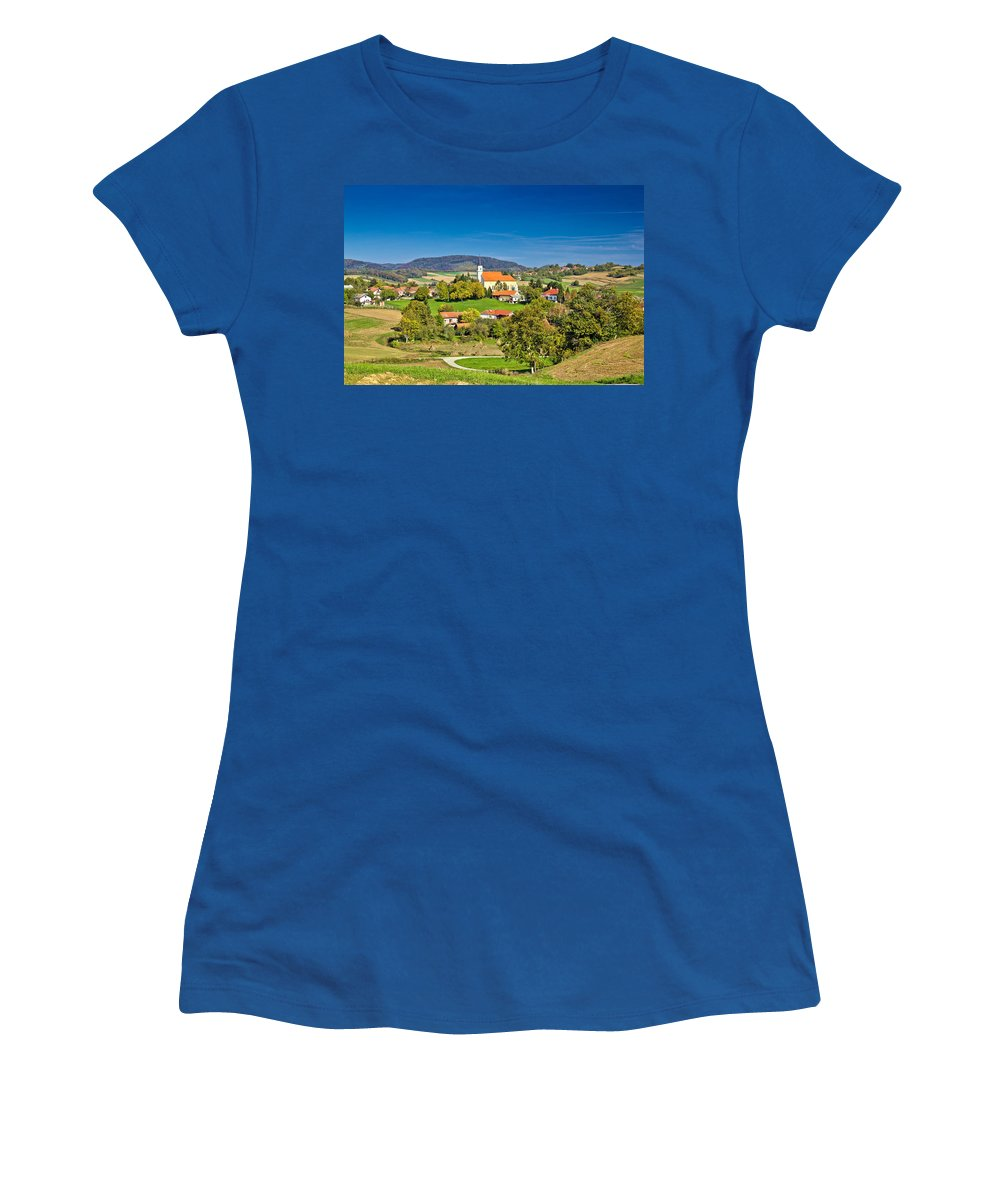 Green Women's T-Shirt featuring the photograph Idyllic Green Nature Of Croatian Village Of Glogovnica by Brch Photography