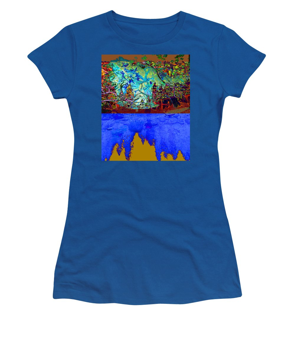 Forest Women's T-Shirt featuring the photograph Illusion Of Lake And Forest by Jeff Burgess