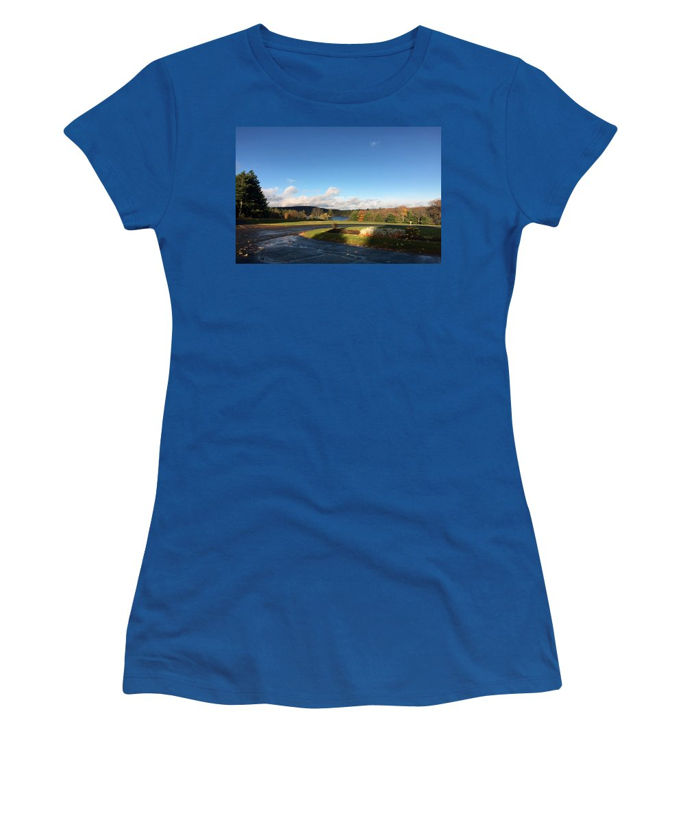 Landscape Women's T-Shirt (Athletic Fit) featuring the mixed media Landscape Skyview Early Morning Poconos Pa Usa America Travel Tour Vacation Peaceful by Navin Joshi