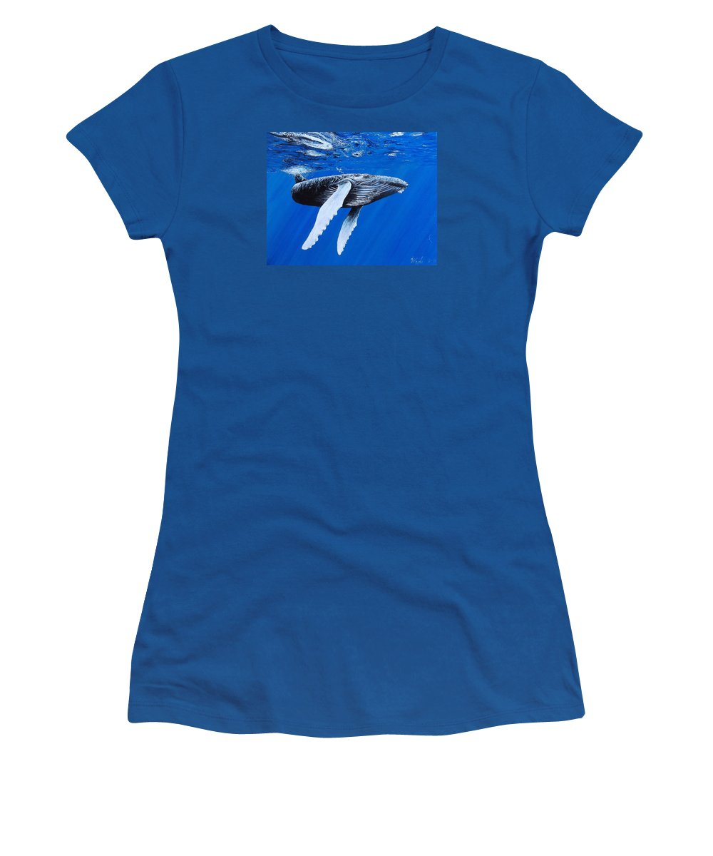 Humpback Whale Women's T-Shirt (Athletic Fit) featuring the painting Leviathan by Wade Geilow