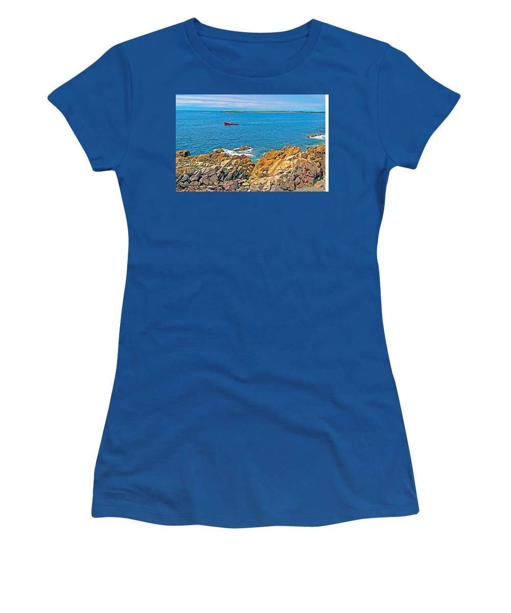 Lobster Boat Checking Traps In Louisbourg Bay Off Cape Breton Island Women's T-Shirt featuring the photograph Lobster Boat Checking Traps In Louisbourg Bay-ns by Ruth Hager