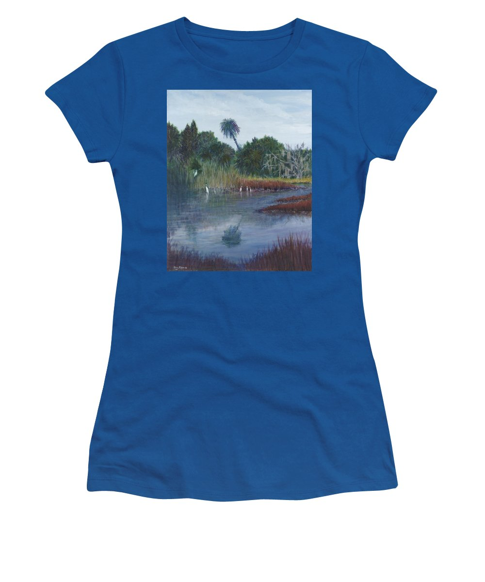 Landscape Women's T-Shirt featuring the painting Low Country Social by Ben Kiger