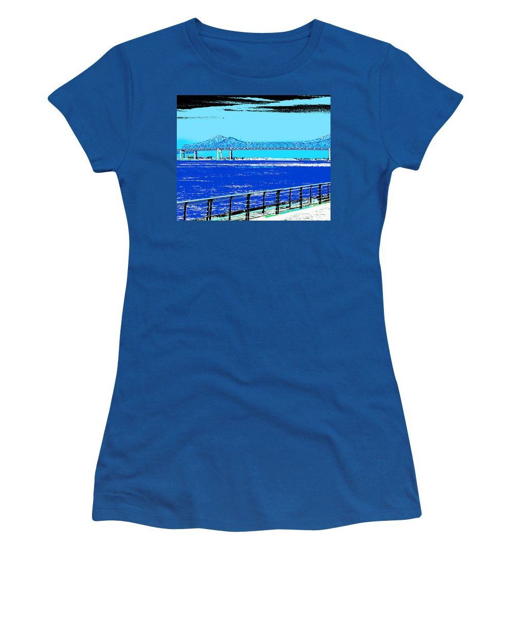 Mississippi River Women's T-Shirt featuring the digital art Mississippi River Bridge Poster by Alys Caviness-Gober