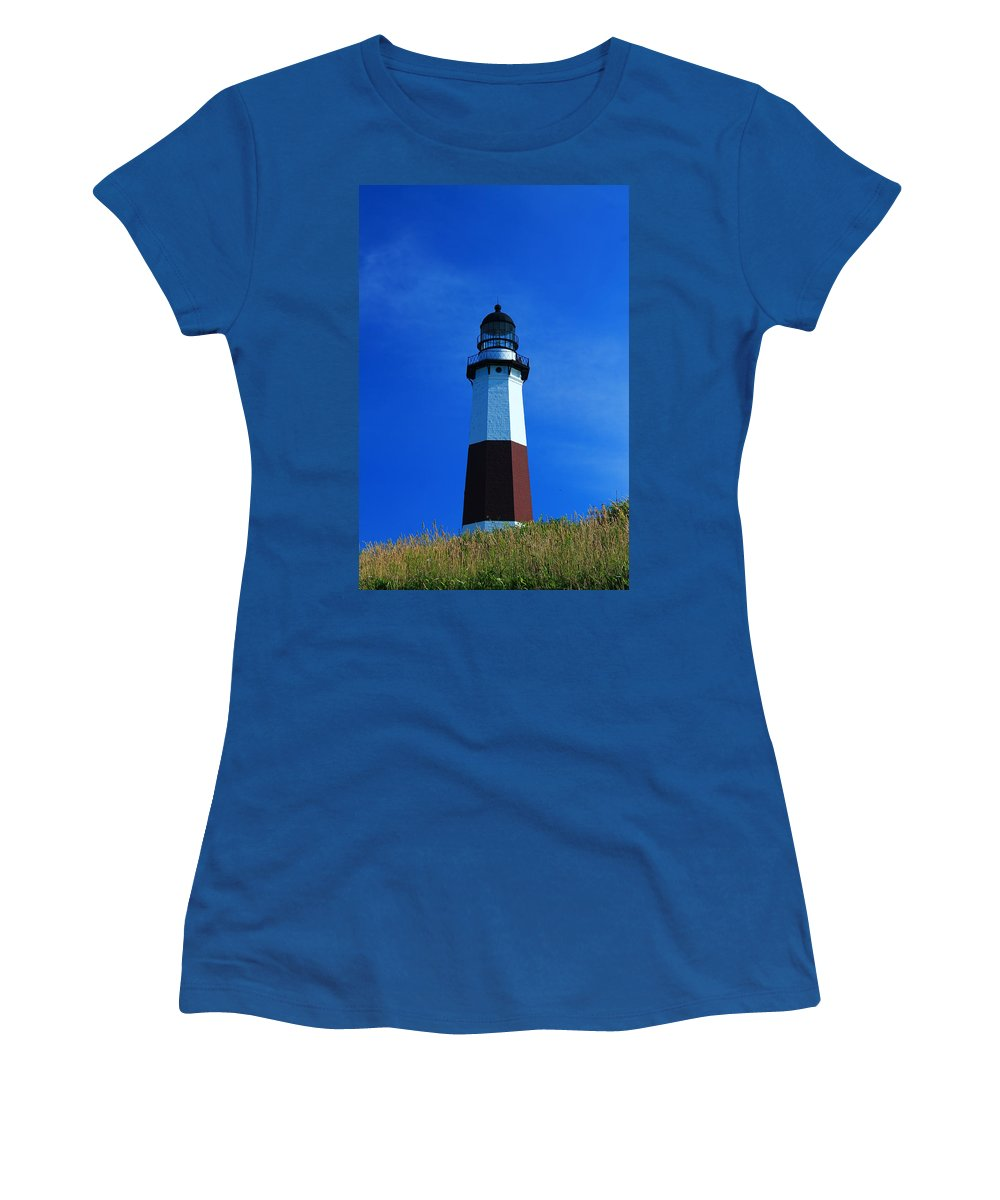 Montauk Women's T-Shirt featuring the photograph Montauk Lighthouse by Catie Canetti