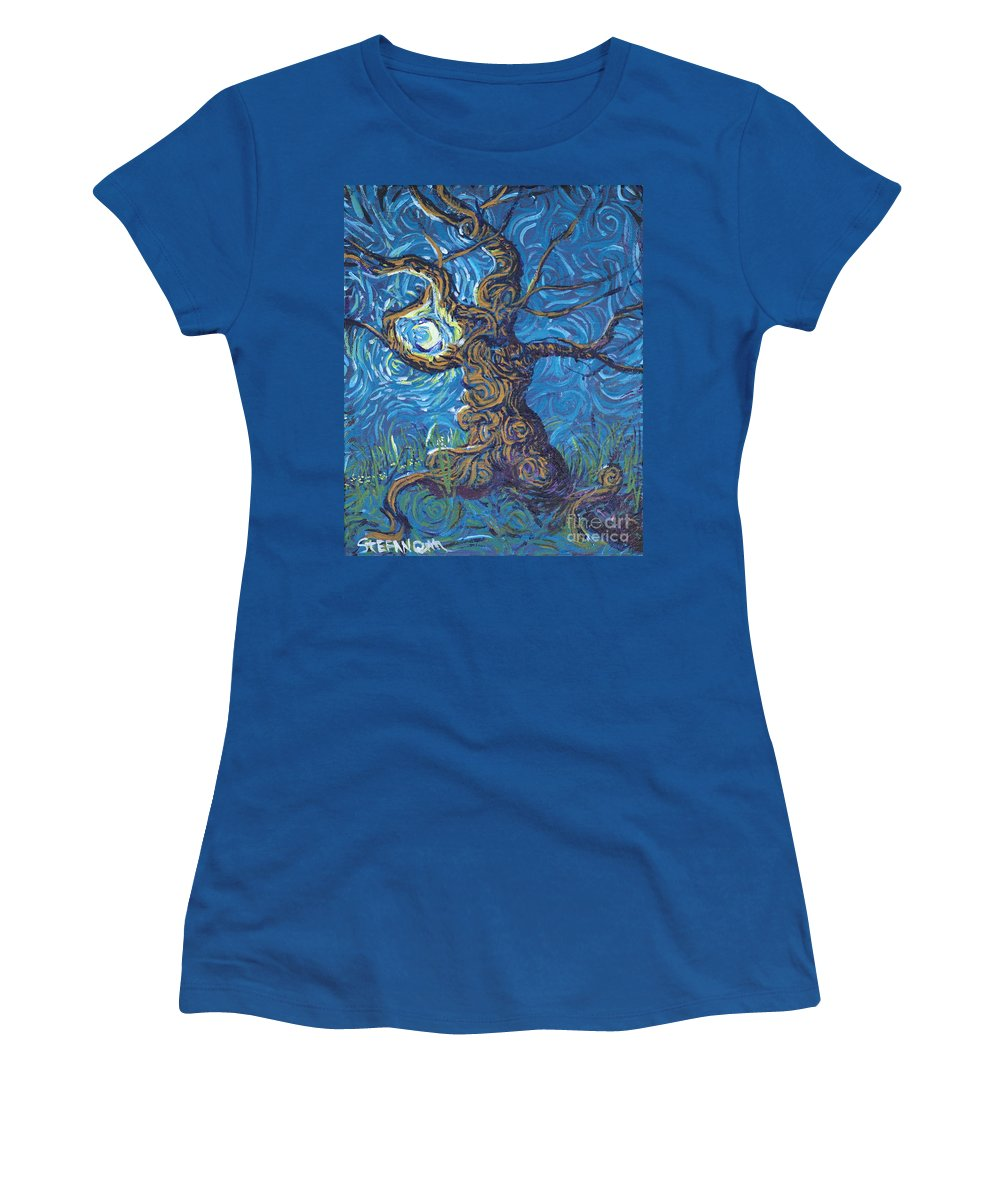 Impressionism Women's T-Shirt featuring the painting Moon Dance by Stefan Duncan