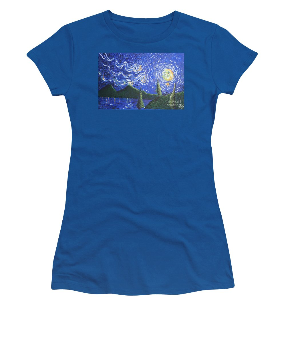 Landscape Women's T-Shirt (Athletic Fit) featuring the painting Mountain Loch by Stefan Duncan