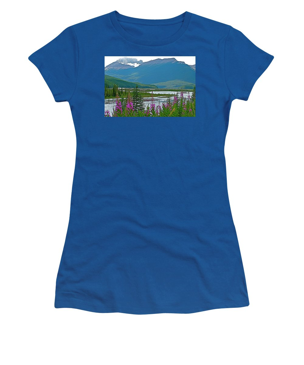 Mountains And Fireweed Along North Sascatchewan River Along Icefield Parkway Women's T-Shirt featuring the photograph Mountains And Fireweed Along North Sascatchewan River Along Icefield Parkway-ab by Ruth Hager