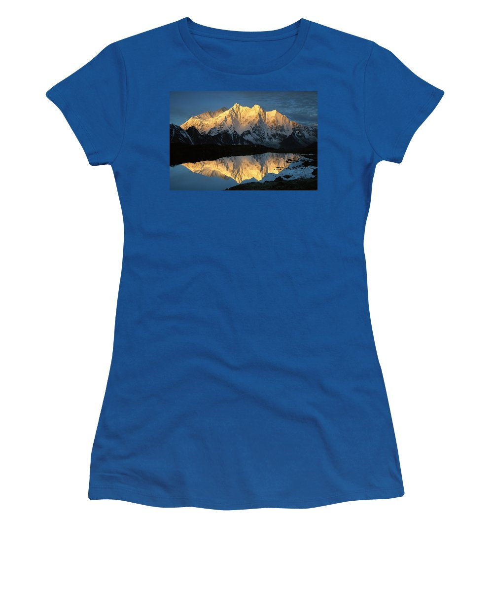 Color Image Women's T-Shirt featuring the photograph Mt Makalu And Mt Chomolonzo by Colin Monteath