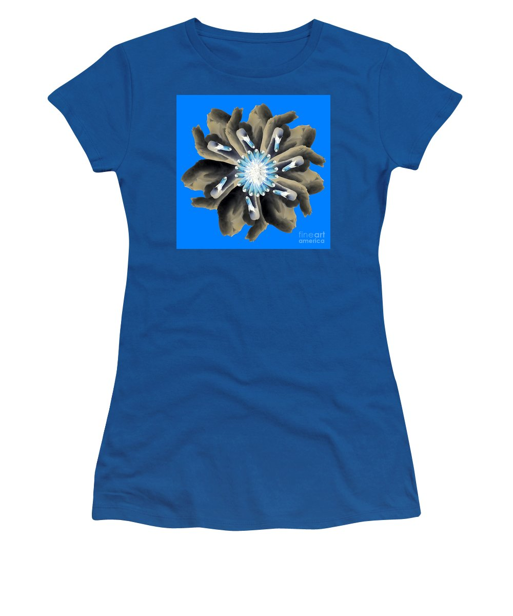 Swans Women's T-Shirt featuring the photograph New Photographic Art Print For Sale Pop Art Swan Flower On Blue by Toula Mavridou-Messer