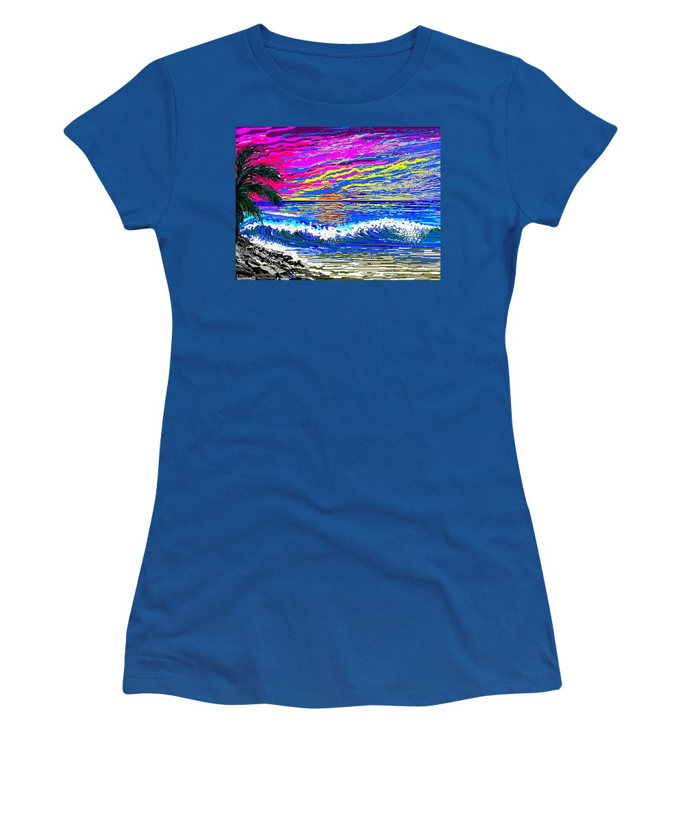Ocean Sunset Quickly Sketched In 3 Hours. Women's T-Shirt (Athletic Fit) featuring the digital art Ocean Sunset by Larry Lehman