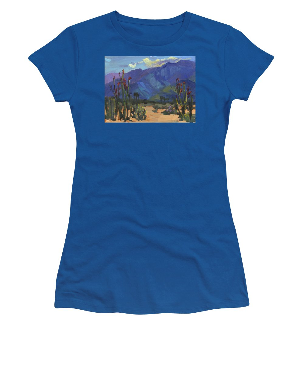 Ocotillos At Smoke Tree Ranch Women's T-Shirt featuring the painting Ocotillos At Smoke Tree Ranch by Diane McClary