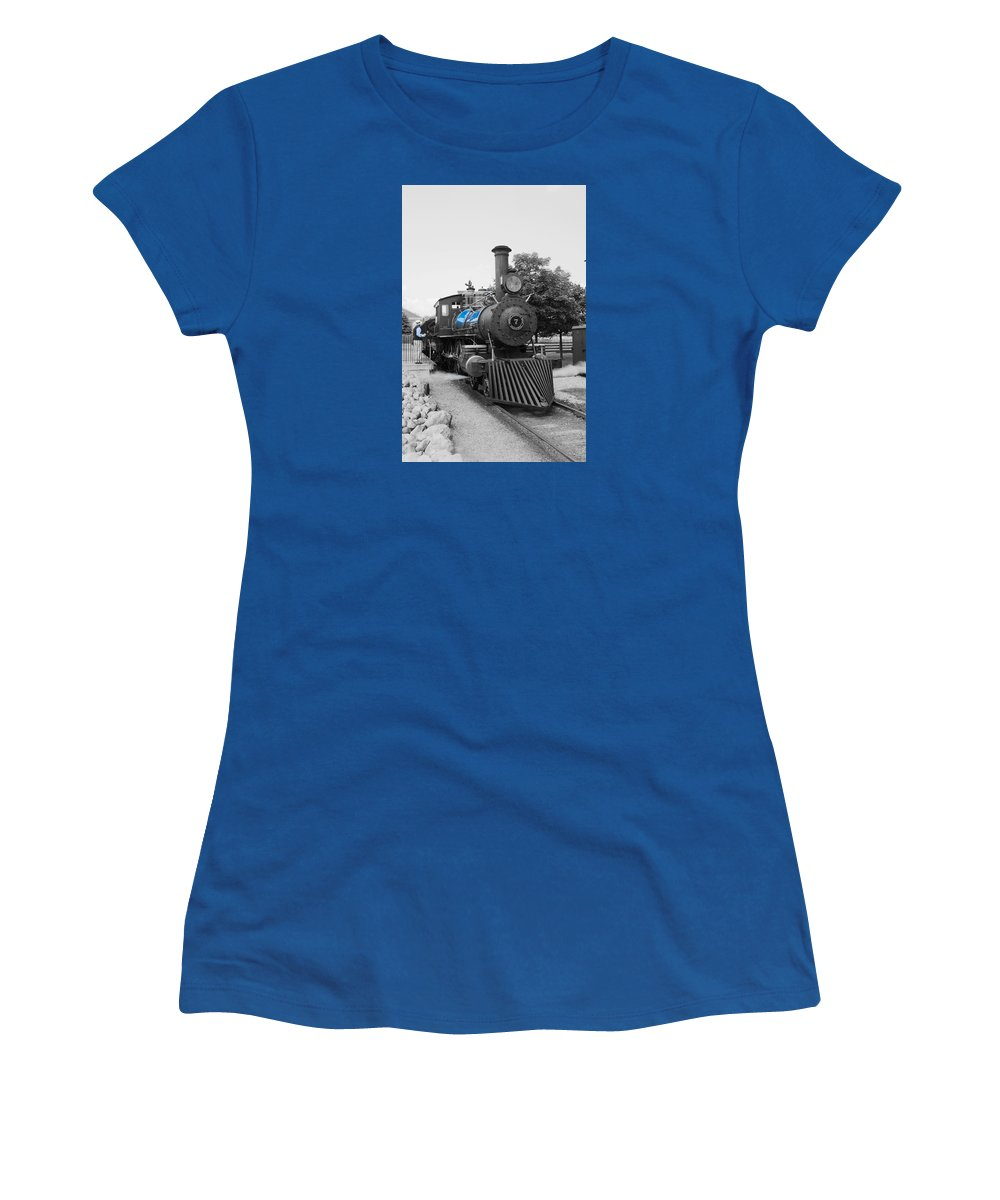 Women's T-Shirt featuring the photograph Old No. 7 Black White And Blue by Daniel Thompson