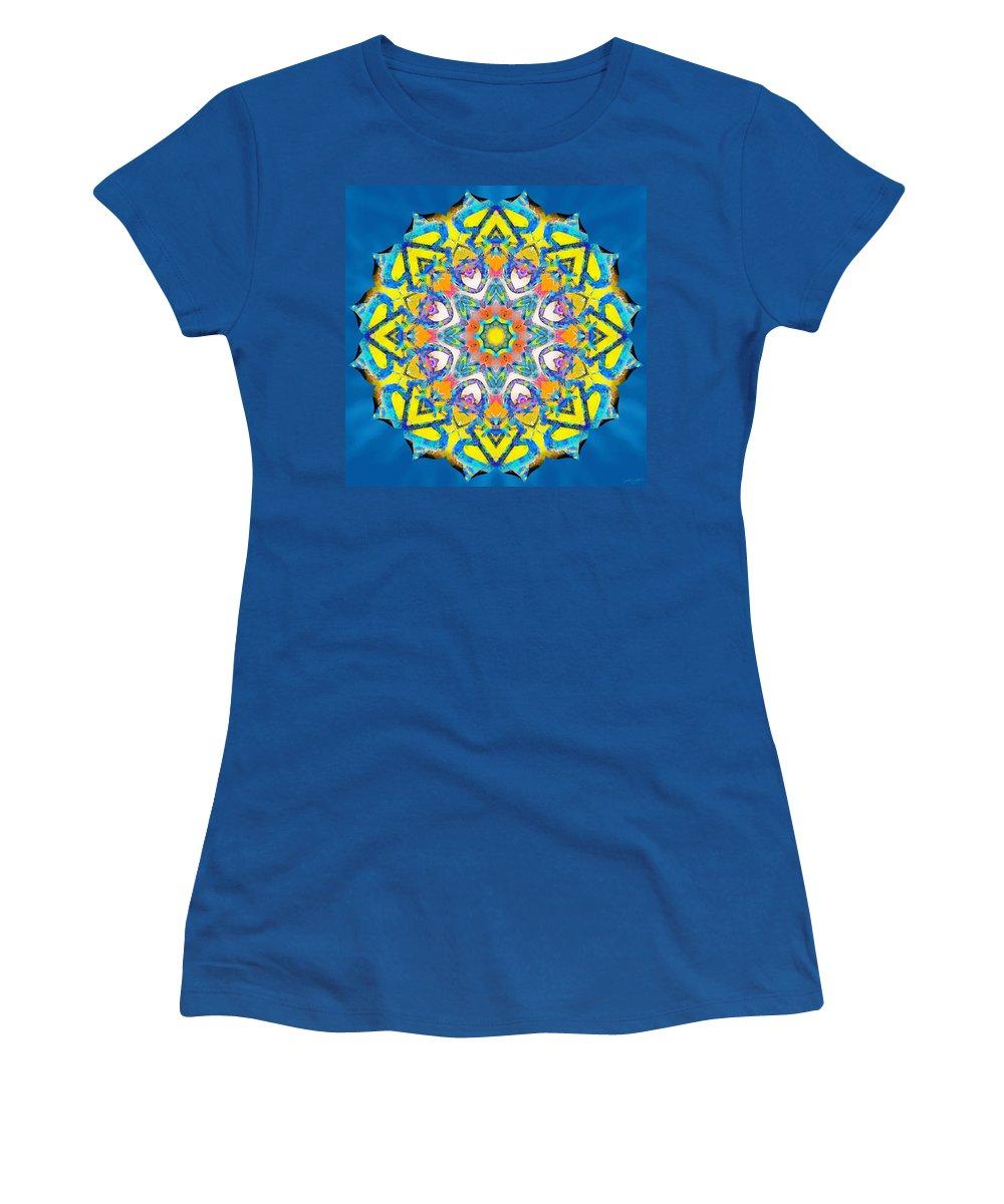 Sacredlife Mandalas Women's T-Shirt featuring the painting Painted Lotus Xv by Derek Gedney