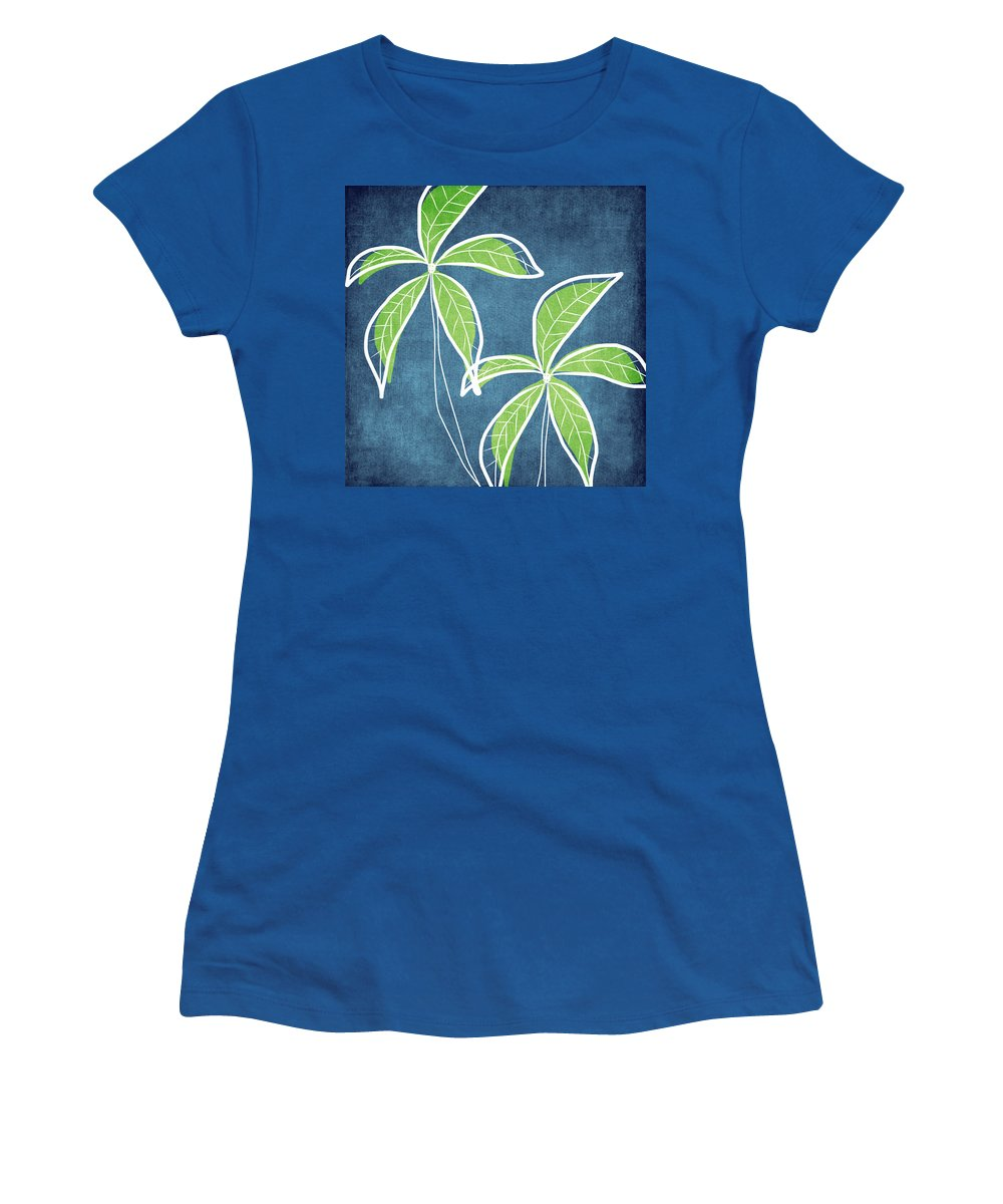 Palm Trees Women's T-Shirt featuring the painting Paradise Palm Trees by Linda Woods