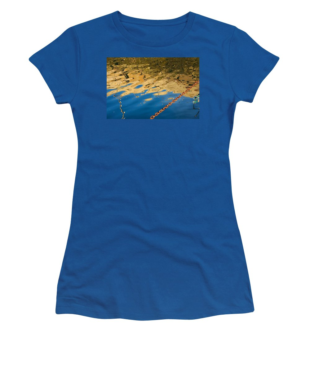 Abstract Women's T-Shirt featuring the photograph Pier Reflection And Rusty Chain by Stuart Litoff