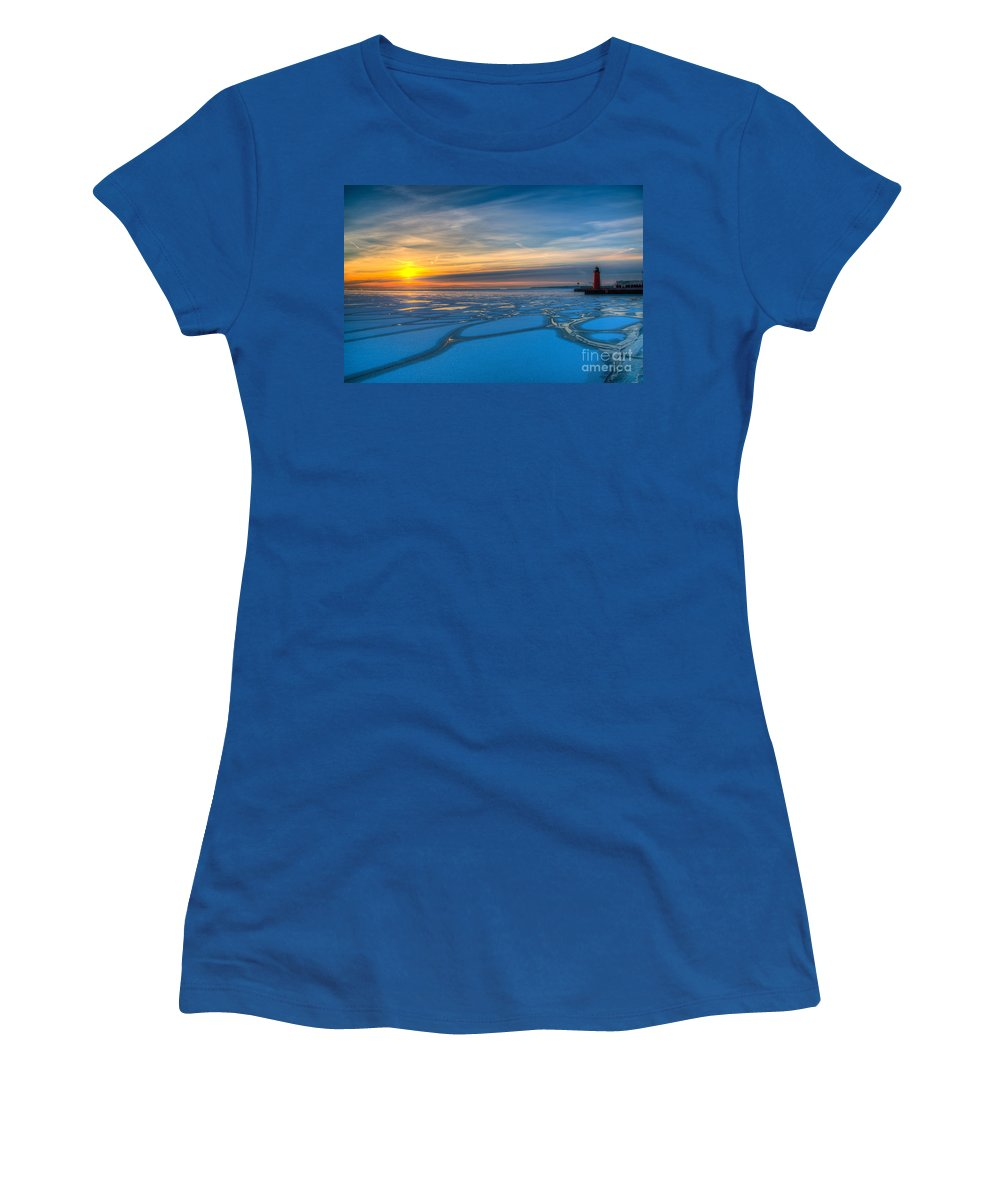 Blue Women's T-Shirt featuring the photograph Pierhead Polar Vortex Sunrise by Andrew Slater