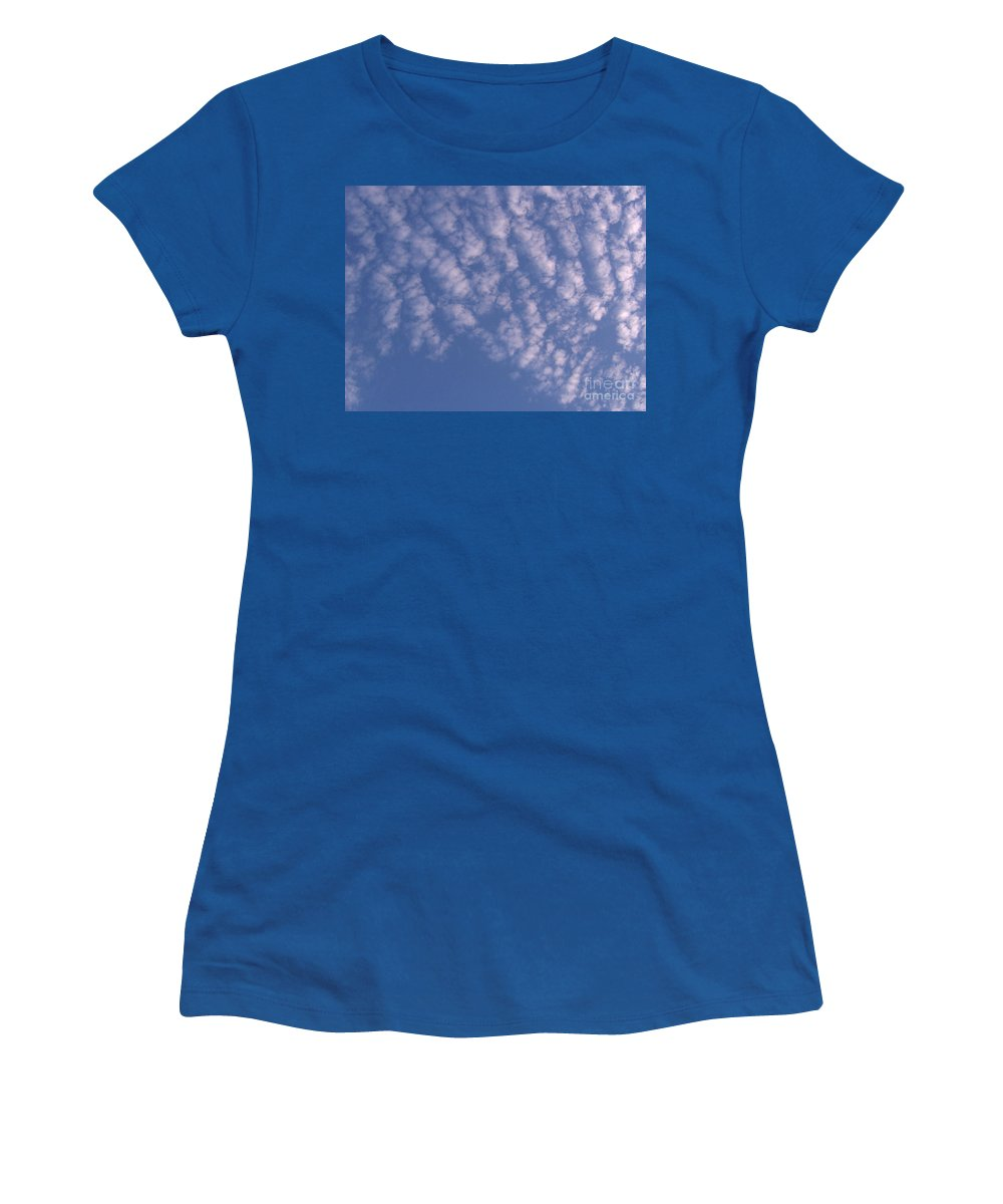 Clouds Women's T-Shirt featuring the photograph Pink Puffy Clouds by D Hackett
