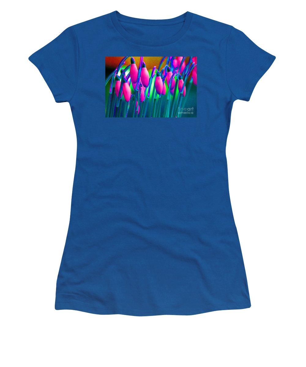 Pink Women's T-Shirt featuring the digital art Pink Snowdrops by Carol Lynch