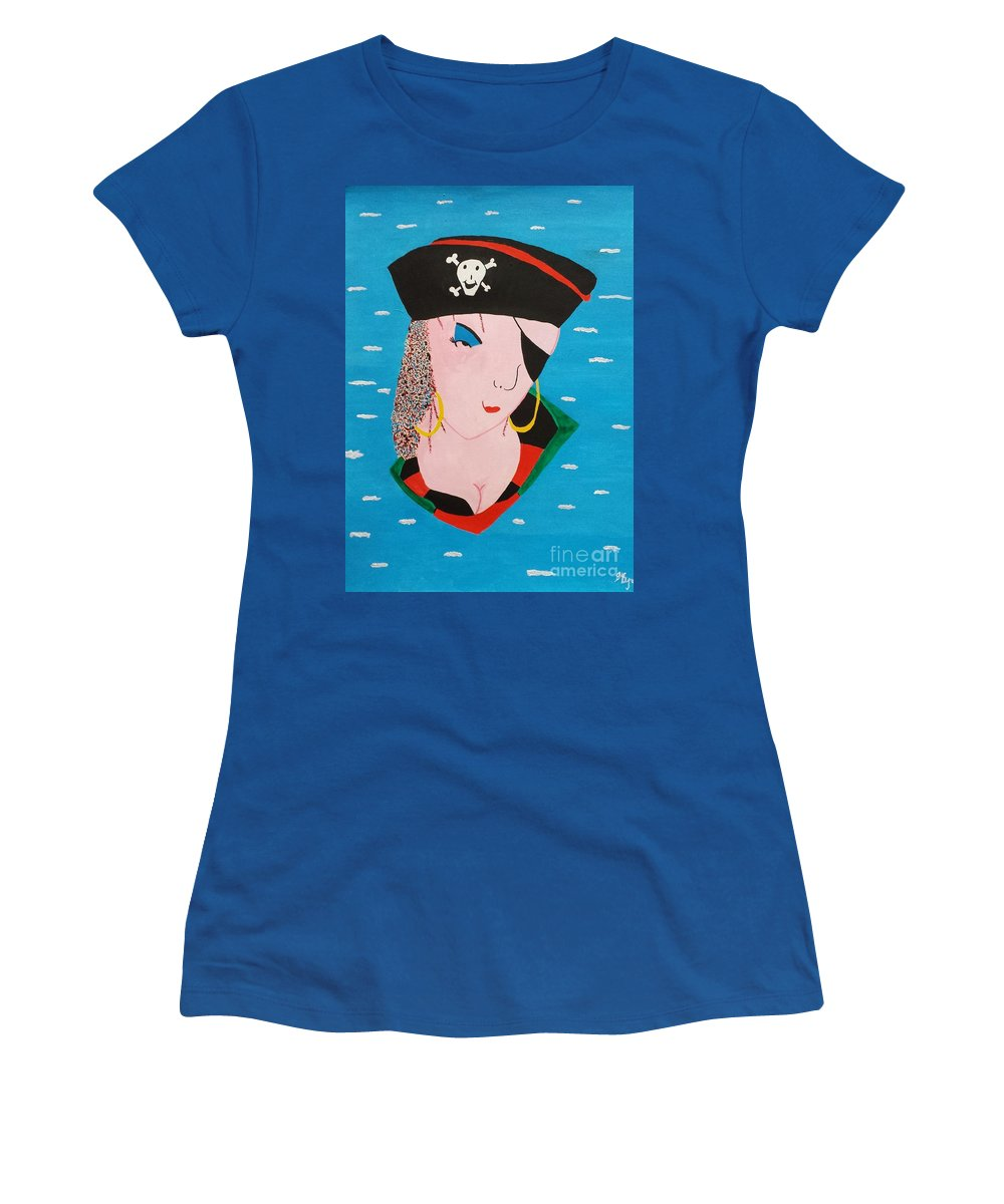 Pirate Women's T-Shirt featuring the painting Piratess Of The Sea by Lisa Byrne