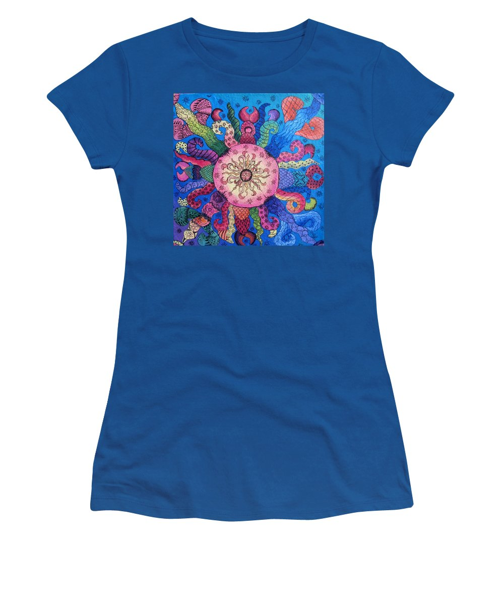 Psychedelic Art Women's T-Shirt (Athletic Fit) featuring the painting Psychedelic Squid 2 by Megan Walsh