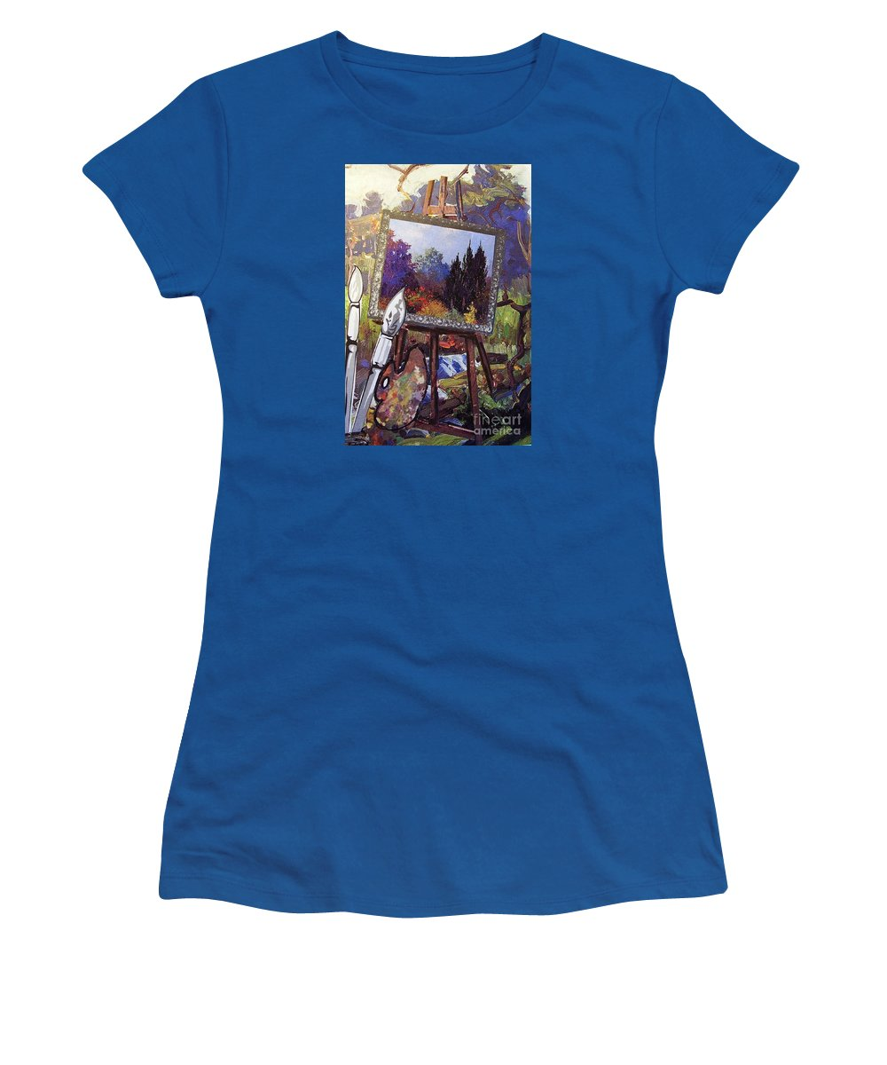 Easel Women's T-Shirt featuring the painting Put Color In Your Life by Eloise Schneider Mote