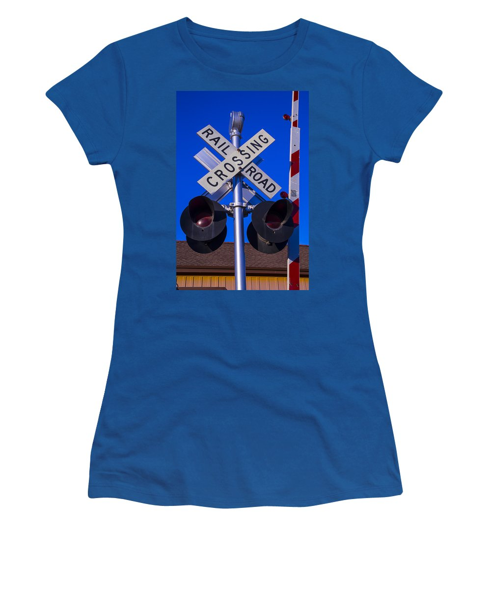 Railroad Women's T-Shirt featuring the photograph Railroad Crossing by Garry Gay