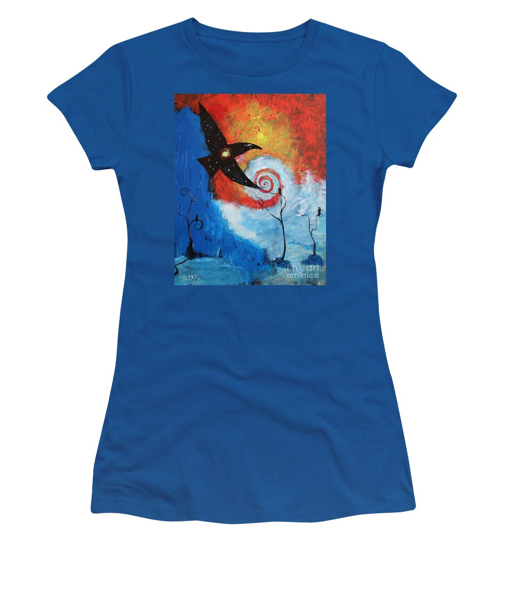 Fantasy Women's T-Shirt (Athletic Fit) featuring the painting Raven In The Swirl by Stefan Duncan
