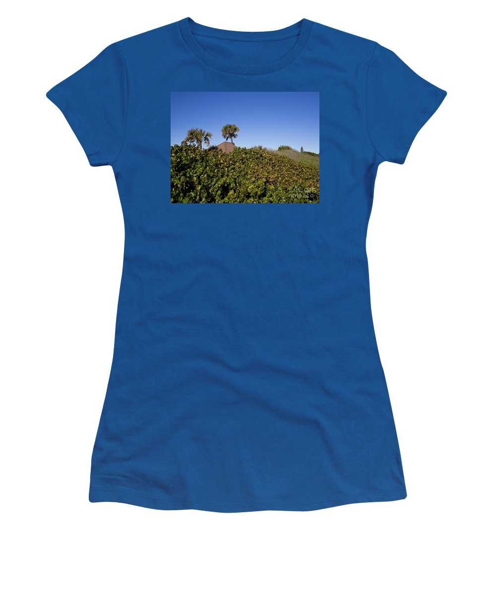 Sea Women's T-Shirt featuring the photograph Sea Grapes On A Florida Sand Dune by Allan Hughes