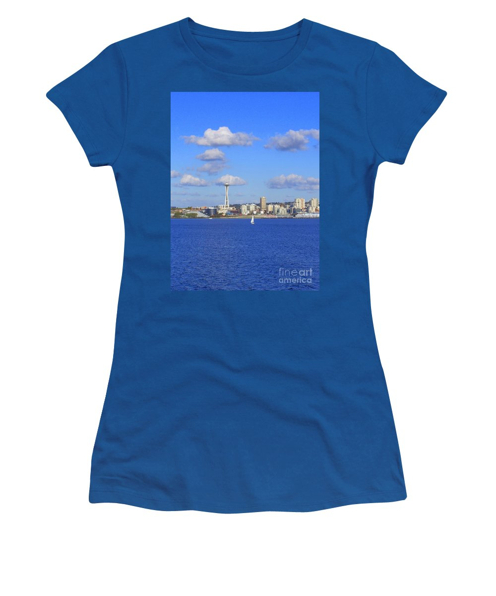 Space Needle Women's T-Shirt (Athletic Fit) featuring the photograph Seattle Skyline 1 by Vicki Maheu